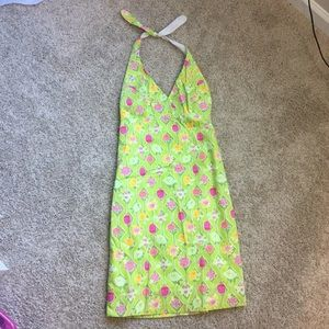 Lilly Pulitzer Green Floral Halter Dress